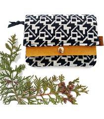 portfel boho mini - czarno-biały etno