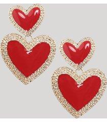 brinco feminino de coração dourado