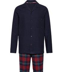 ls pant flannel shirt set pyjama rood tommy hilfiger
