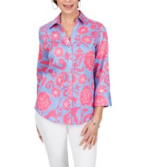 foxcroft mary floral wrinkle free button-up shirt, size 4 in multi at nordstrom