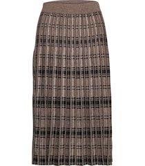 fqcloe-l-sk-check knälång kjol brun free/quent