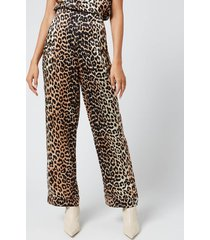 ganni women's silk stretch satin trousers - leopard - eu 40/uk 12