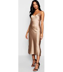 tall satin slip dress, taupe