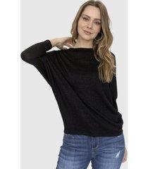 sweater lurex cuello bote fiorella negro racaventura