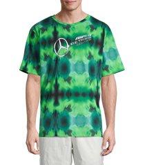 puma men's petronas tie-dye t-shirt - green - size m
