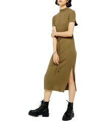women's topshop belted ribbed midi dress, size 12 us (fits like 14) - green