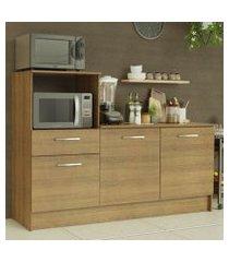 balcão madesa onix 180 cm 3 portas 1 gaveta e nicho para forno rustic cor:rustic