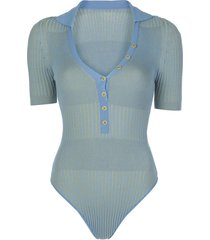 blue striped bodysuit
