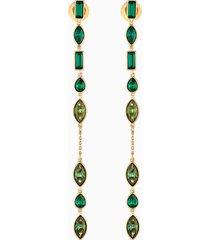 orecchini jackets bamboo long, verde, placcato color oro