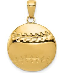 baseball charm in 14k yellow gold