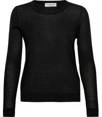 merino pullover ls stickad tröja svart rosemunde