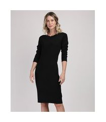 vestido feminino midi manga longa preto