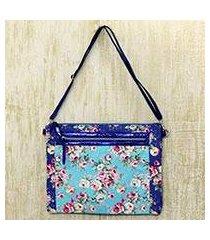 cotton blend shoulder bag, 'blue rose bower' (india)