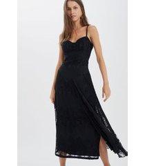 vestido renda plissada com bojo preto