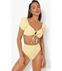 korte bikini top met textuur, lemon