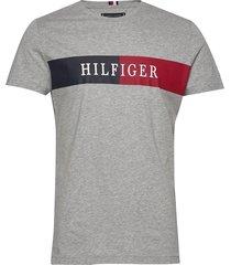 block stripe hilfiger tee t-shirts short-sleeved grå tommy hilfiger