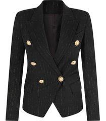 balmain black jacket with lurex stripes for girl
