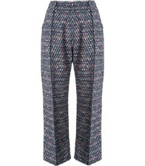 coohem tweed cropped trousers - blue