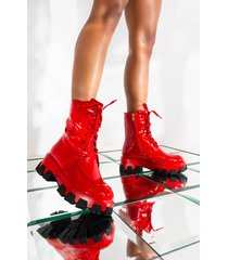akira azalea wang have faith in me flat bootie in red