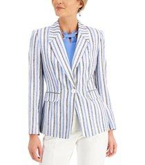 kasper striped single-button blazer
