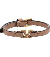 valentino garavani vlogo leather bracelet - pink
