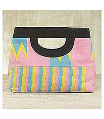 cotton kente tote handbag, 'pink is sweet' (ghana)