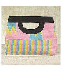 cotton kente tote handbag, 'pink is sweet' (ghana)