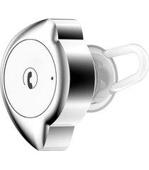 audífonos bluetooth, d4 mini inalámbrico inalámbrico audifonos bluetooth manos libres  v4.1 auricular anti-sudor auricular para el deporte pequeña luz media-luna auricular de micrófono de forma (plata blanca)