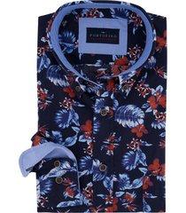 overhemd portofino casual fit blauw bloemenprint