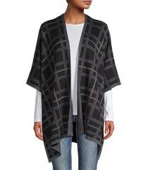 anne klein women's plaid print cotton-blend cardigan - grey - size xxs/xs