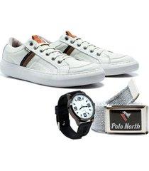 sapatênis polo north masculino couro macio + relógio + cinto - masculino