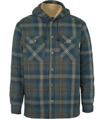 wolverine men's byron hooded shirt jac dark slate plaid, size l