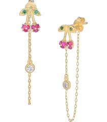 gabi rielle women's happy me 14k goldplated sterling silver & crystal cherry bing drop earrings