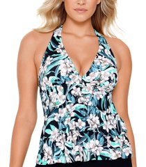swim solutions vintage bouquet tiered halter tankini top, created for macy's women's swimsuit