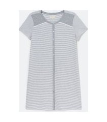 camisola manga curta em poliviscose listrada com abotoamento frontal | lov | cinza | m