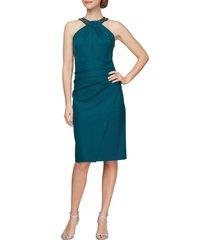 women's alex evenings embellished dress, size 14 - green