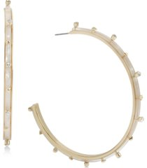 bcbgeneration gold-tone large stone studded c-hoop earrings, 3""