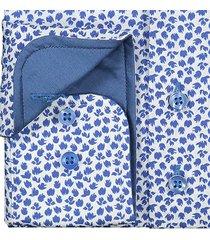 sleeve7 heren overhemd blauw wit met bloemen print