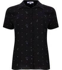 camisa anclas color negro, talla l