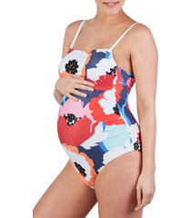 women's cache coeur poppy one-piece maternity swimsuit, size xx-large - white