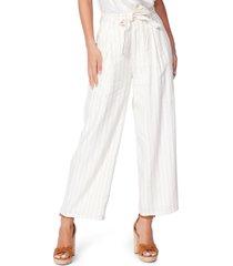 women's paige nevada stripe wide leg paperbag waist pants
