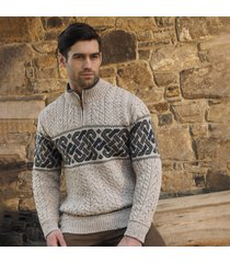 mens newgrange oatmeal celtic sweater large