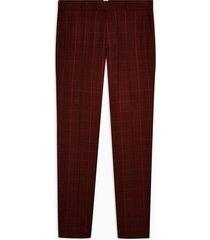 mens red check skinny dress pants