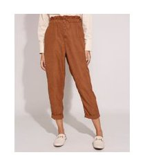 calça carrot clochard com bolsos e botões cintura super alta caramelo