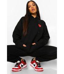 petite oversized hoodie met hartjes borstopdruk, black