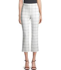 bailey 44 women's jessie windowpane kick flare trousers - white - size l