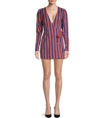 weworewhat women's blanca striped wrap mini dress - blue depth - size m
