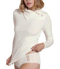 blouse lisca geniet van cheek topje met lange mouwen en hoge kraag