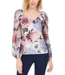 msk embellished floral-print puff-sleeve top