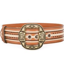 etro embroidered leather belt - brown